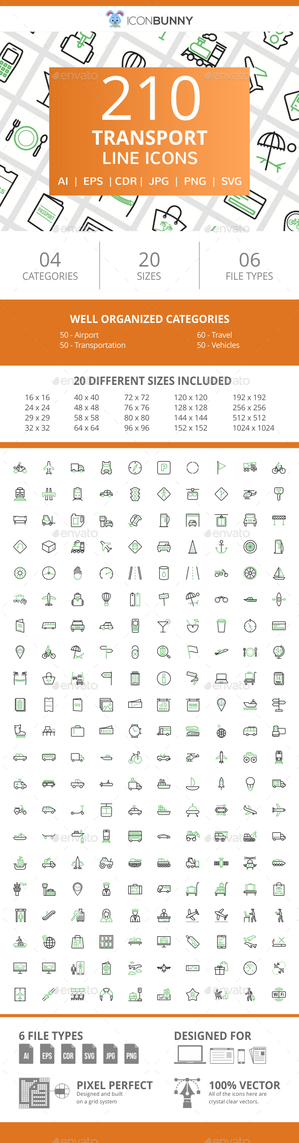 210 Transport Line Green & Black Icons - Icons