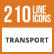 210 Transport Line Green & Black Icons - GraphicRiver Item for Sale
