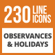 230 Observances & Holiday Line Green & Black Icons