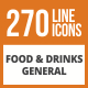 270 Food & Drinks General Line Green & Black Icons