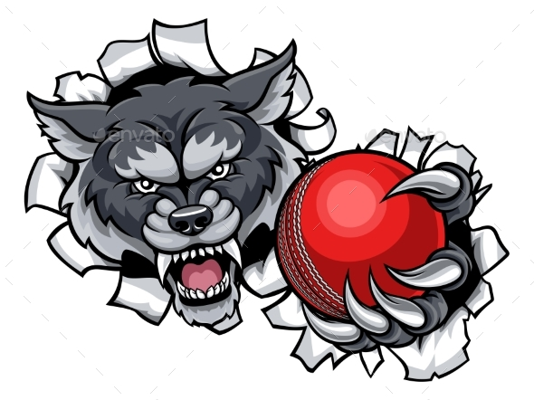 Wolf Cricket Mascot Breaking Background - Sports/Activity Conceptual