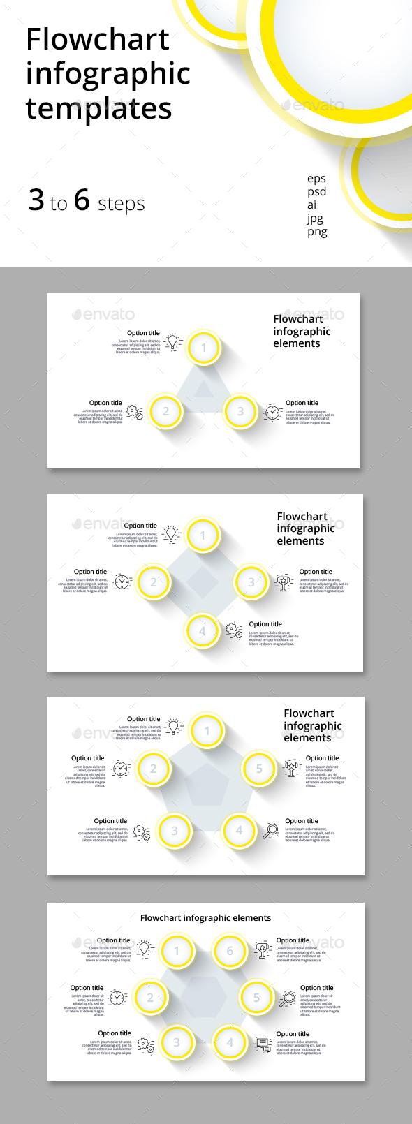 3 6 step flowchart infographics by grafvishenka graphicriver