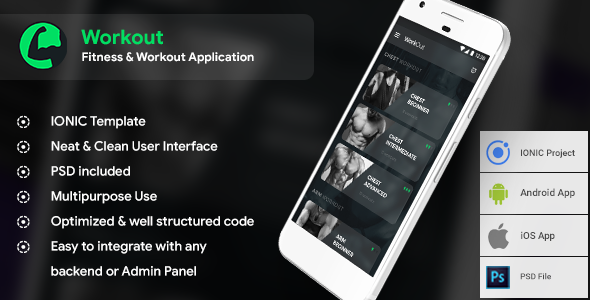 Workout Guide Android + iOS App Template (HTML + CSS in IONIC Framework)            Nulled