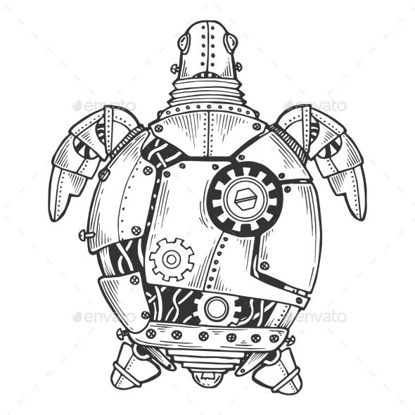 Mechanical Turtle Animal Engraving Vector - Miscellaneous Vectors