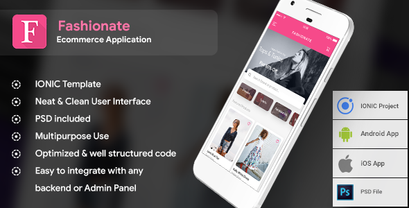Fashion Ecommerce App for Andoird + iOS  Template (HTML and CSS in IONIC Framework)  |  Fashionate            Nulled
