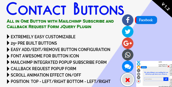 Contact Buttons - All in One Button with Mailchimp Subscribe and Callback Request Form jQuery Plugin            Nulled