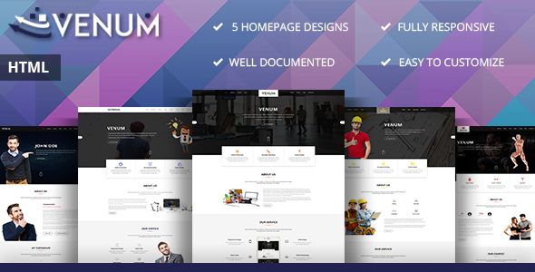 Venum - One Page Business Corporate HTML5 Template - Corporate Site Templates