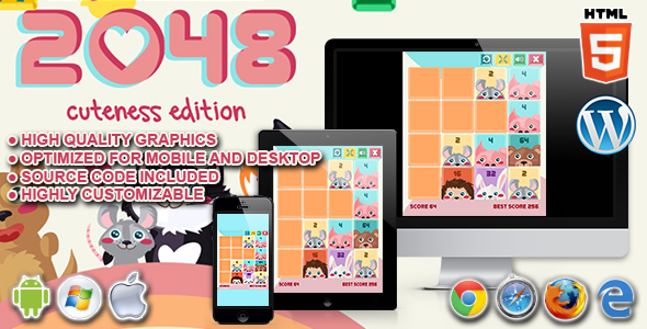 2048 Cuteness Edition - HTML5 Skill Game - CodeCanyon Item for Sale
