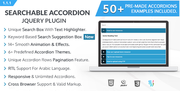 BWL Searchable Accordion jQuery Plugin - CodeCanyon Item for Sale