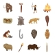 Life in the Stone Age Cartoon Icons in Set - GraphicRiver Item for Sale