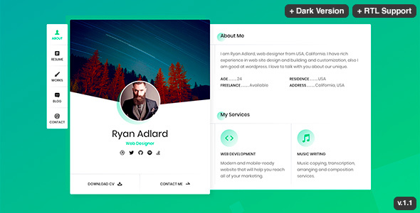 Ryan - vCard / Resume / CV Template - Virtual Business Card Personal