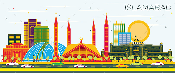 Islamabad Pakistan City Skyline with Color Buildings - Buildings Objects