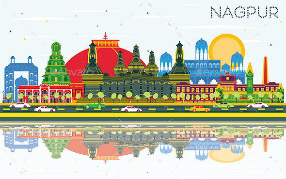 Nagpur India City Skyline with Color Buildings - Buildings Objects