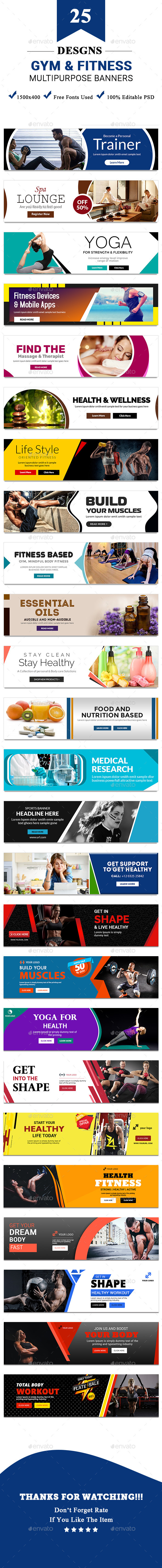 Gym and Fitness Multipurpose Banners - 25 Designs - Banners & Ads Web Elements