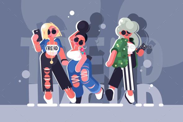 Fashionable Girls - People Characters