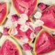 Slices of Red Watermelon on the Table with Ice Top View - VideoHive Item for Sale