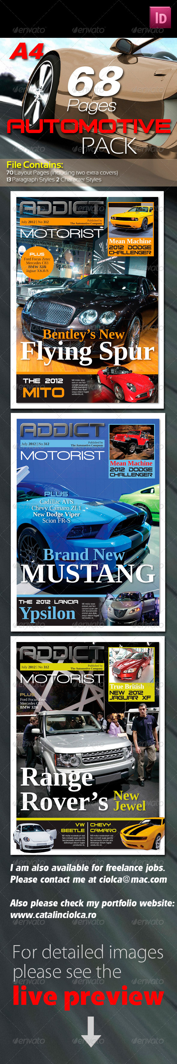 68 Pages Automotive Magazine Pack - Magazines Print Templates
