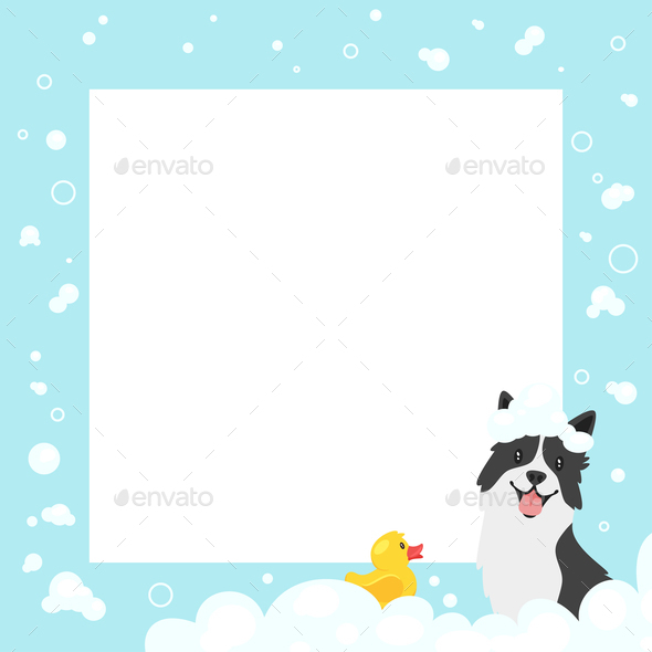 Dog and Duck in Bath Background - Animals Characters