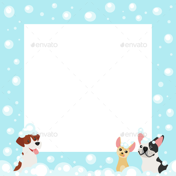 Dogs in Bubble Bath Background - Animals Characters
