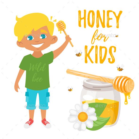 Honey for Kids Illustration - Food Objects