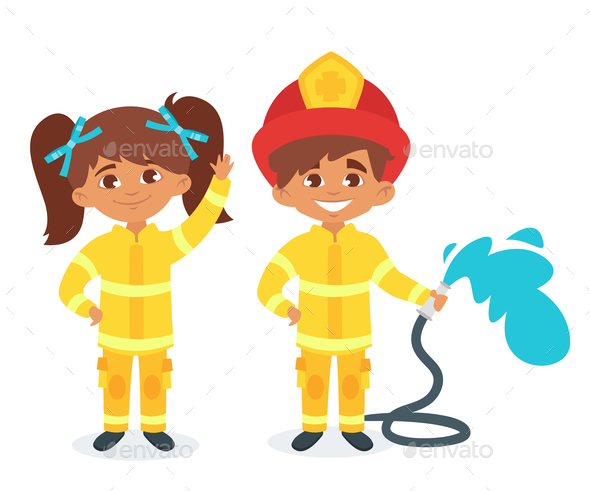 Kids in Firefighter Uniform - People Characters