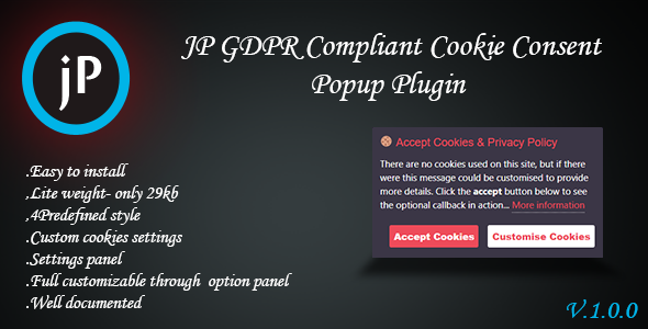 JP GDPR Compliant Cookie Consent Popup Plugin            Nulled