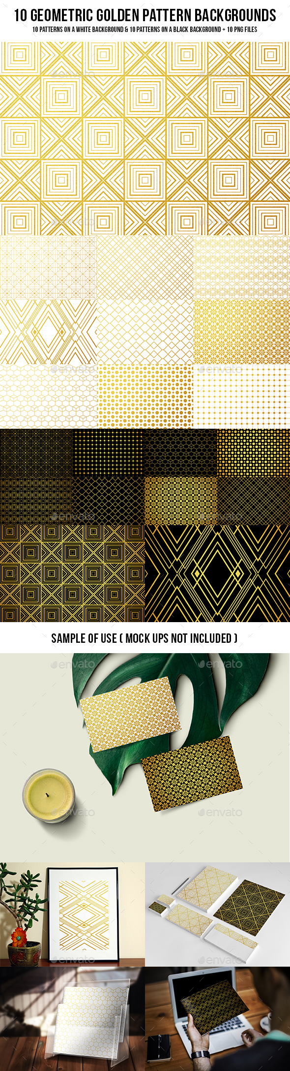 Geometric Golden Pattern Backgrounds - Patterns Backgrounds