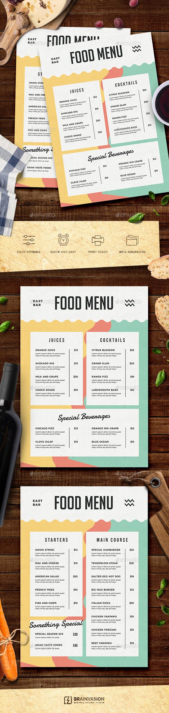 Food Menu Template - Food Menus Print Templates