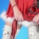 Seductive Santa Girl with Sex Toys in Seductive Poses. on a Blue Background - VideoHive Item for Sale