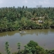 Drone Panoramic View of Beautiful Rainforest River Flowing in Jungle Wilderness with Small Boat and - VideoHive Item for Sale