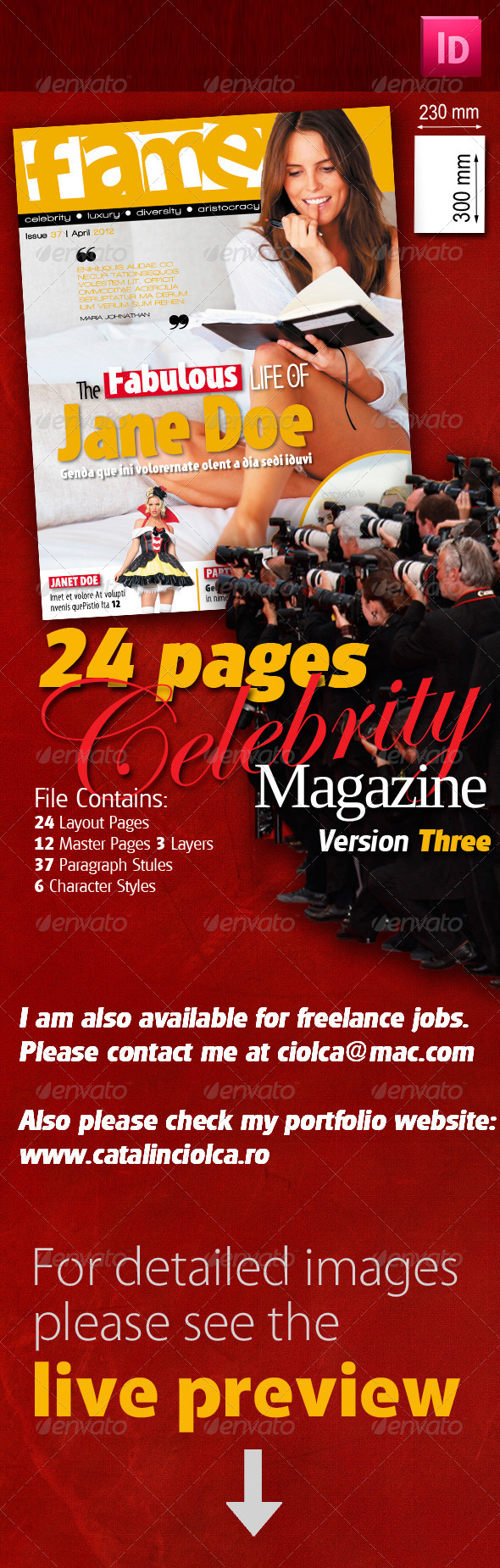 24 Pages Celebrity Magazine Version Three - Magazines Print Templates