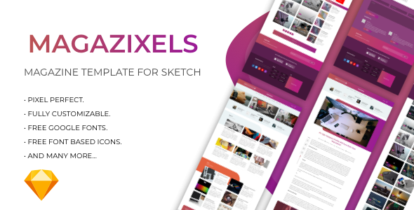 Magazixels - Magazine Template - Sketch Templates