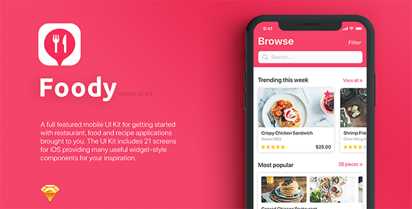 Foody mobile App UI Kit for Sketch - Sketch Templates