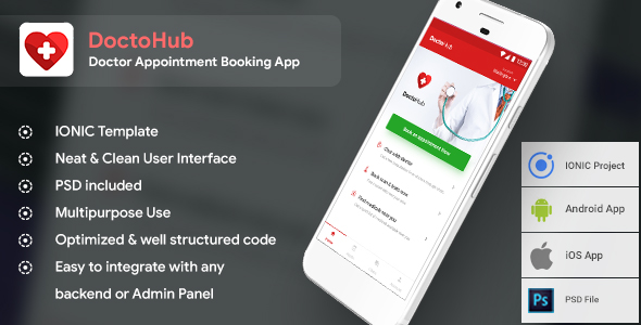 Doctor Appointment booking Android + iOS  Template (HTML+CSS in IONIC Framework)   DoctoHub            Nulled