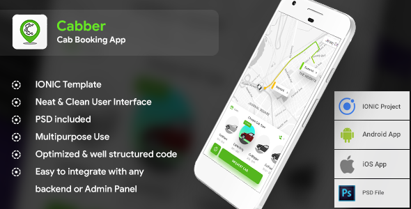 Cab Booking Android App + iOS App Template (HTML + CSS in IONIC) for Both Rider and Driver | Cabber - CodeCanyon Item for Sale