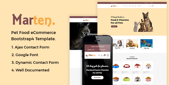 Image of Marten - Pet Food eCommerce Bootstrap4 Template
