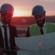 Two Businessman s Analyzing the Map of Construction , Discussion , Wearing Safety Equipment, Amazing - VideoHive Item for Sale
