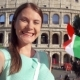 Woman Doing Selfie Near Colosseum in Rome, Italy. Teenage Girl Waving Italian Flag in - VideoHive Item for Sale