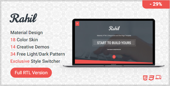 Rahil - HTML One Page Template  ( RTL Supported ) - Creative Site Templates
