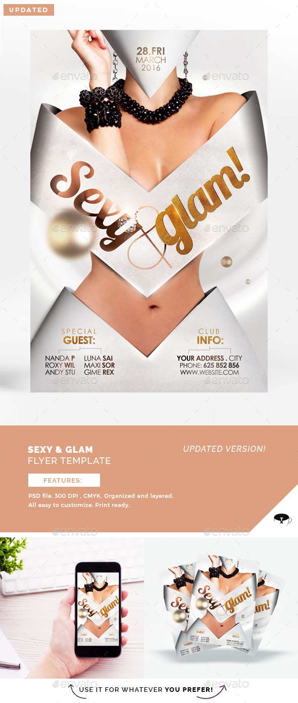 Sexy & Glam Flyer Template - Clubs & Parties Events