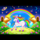 Rainbow Unicorn in a Fantasy Landscape with Golden Stairs - GraphicRiver Item for Sale