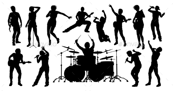 silhouettes rock or pop band musicians by krisdog graphicriver