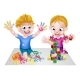 Cartoon Boy and Girl Playing With Blocks and Paint - GraphicRiver Item for Sale