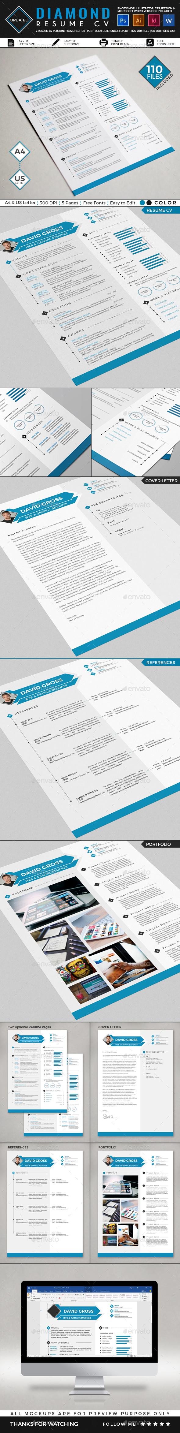 Diamond Resume CV Template - Resumes Stationery