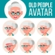 Old Woman Avatar Set Vector. Face Emotions. Senior