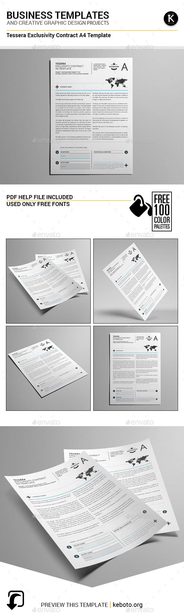 Tessera Exclusivity Contract A4 Template - Miscellaneous Print Templates