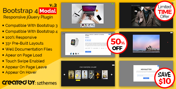 Bootstrap 4 Modal Responsive jQuery Plugin            Nulled