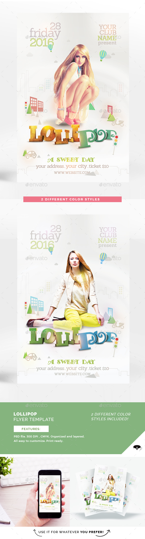 Lollipop Flyer Template - Clubs & Parties Events