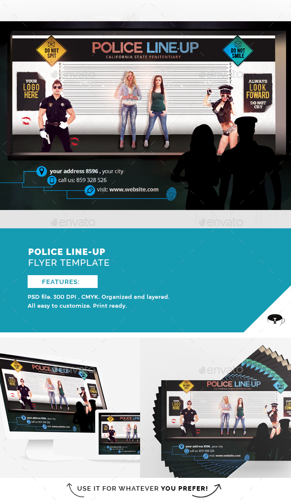 Police Line-Up Flyer Template - Clubs & Parties Events