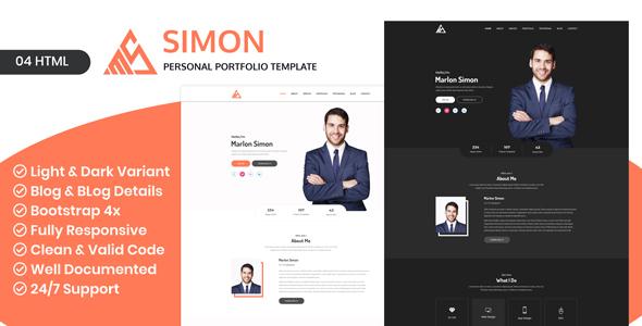 Saimon - Portfolio Personal Creative Freelancer Portfolio HTML Portfolio landing page - Portfolio Creative